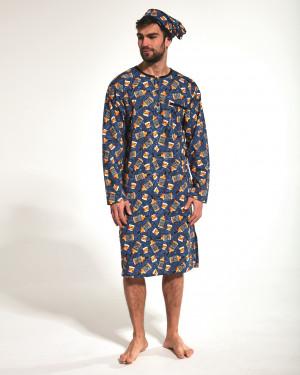 Pánská noční košile 110/04 653901 - Cornette tmavě modrá - vzor