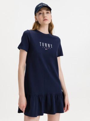 Logo Peplum Šaty Tommy Jeans Modrá
