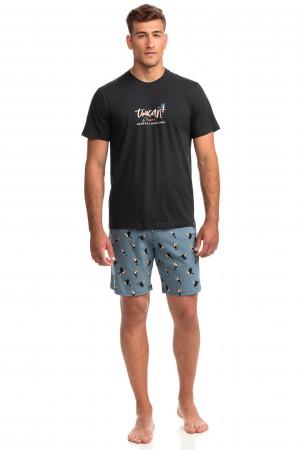 Vamp - Pohodlné dvoudílné pánské pyžamo 14732 - Vamp dark gray m
