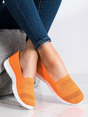 Komfortní oranžové dámské  tenisky bez podpatku