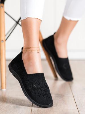 Zajímavé černé dámské  tenisky bez podpatku