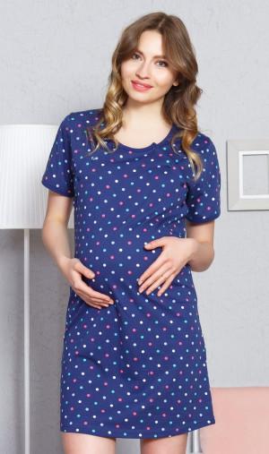 Dámská noční košile mateřská Simona - Vienetta tmavě modrá - vzor