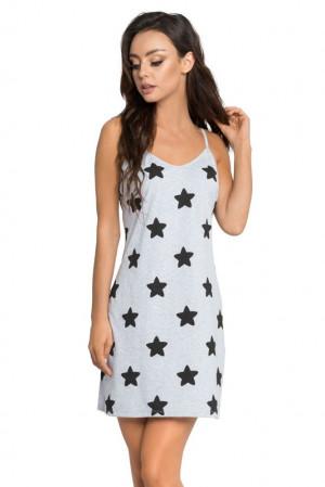 Noční košilka Astra šedá s hvězdami šedá
