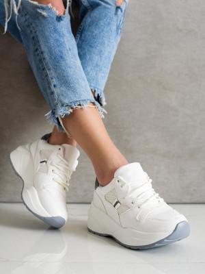 Trendy dámské bílé  tenisky bez podpatku