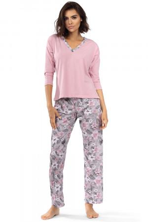 Dámské pyžamo Lorin P-1514 prášková růžová / květiny