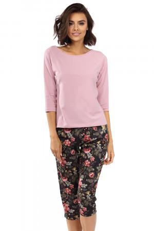 Dámské pyžamo Lorin P-1516 prášková růžová / květiny