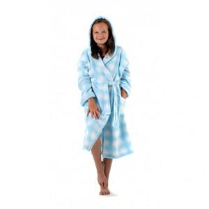 OLIVIA dětský župan s kapucí dětské č. 116 dětský župan s kapucí sv.modrá kostka 5001