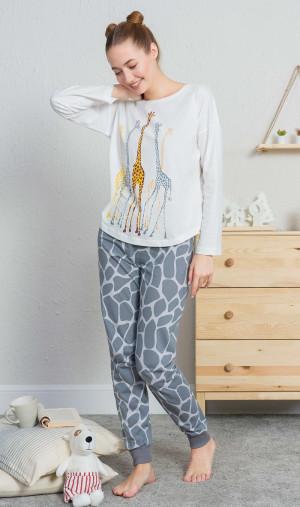Dámské pyžamo dlouhé Žirafy - Vienetta ecru-šedá