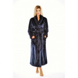 LILLY extra se šálovým límcem - dámský hřejivý župan S dlouhý župan se šálovým límcem tmavě modrá 5952