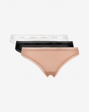 3PACK dámská tanga Calvin Klein vícebarevné (QD3802E-FIY)