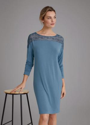Dámská noční košile Amourette NDK LSL 01 - BLUE SNOW - TRIUMPH BLUE SNOW - TRIUMPH BLUE SNOW
