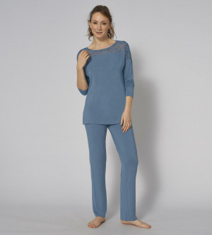 Dámské pyžamo Amourette PK LSL 01 - BLUE SNOW - TRIUMPH BLUE SNOW - TRIUMPH BLUE SNOW