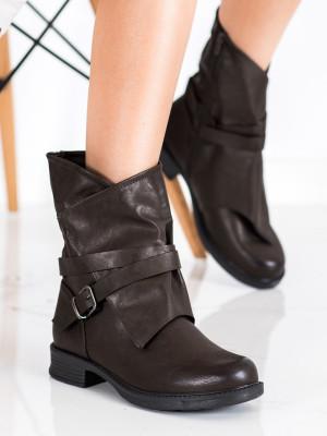 Exkluzívní dámské  kotníčkové boty hnědé na plochém podpatku