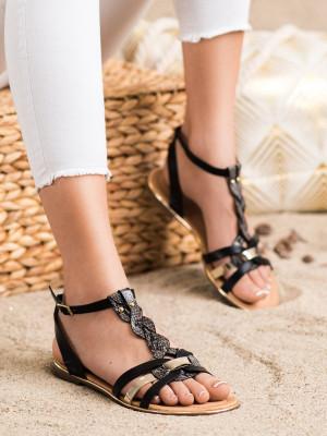 Designové černé dámské  sandály na plochém podpatku