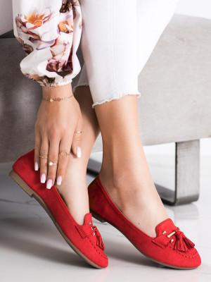Komfortní červené  mokasíny dámské bez podpatku