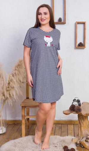 Dámská noční košile s krátkým rukávem Kočka s mašličkou - Vienetta černo - bílá 3XL