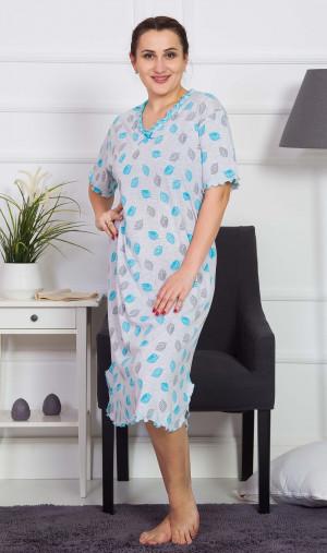 Dámská noční košile s krátkým rukávem Listy - Vienetta šedá s modrou 3XL
