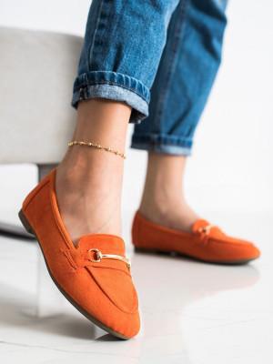 Originální oranžové dámské  mokasíny bez podpatku