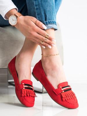 Exkluzívní dámské červené  mokasíny bez podpatku