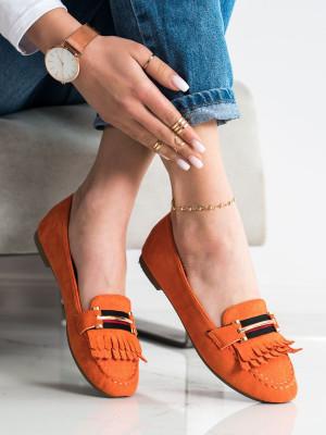 Výborné oranžové dámské  mokasíny bez podpatku