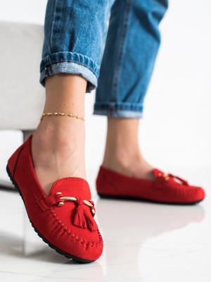 Krásné  mokasíny červené dámské bez podpatku