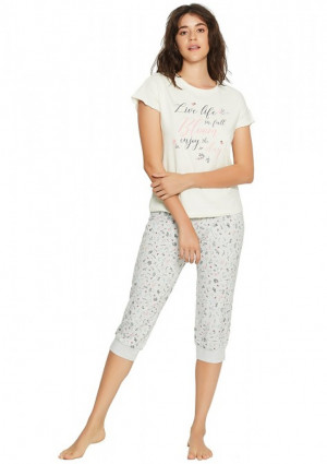 Dámské pyžamo 38050 - Henderson ecru-šedá