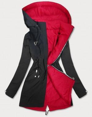 Černo-červená oboustranná dámská bunda parka s kapucí (W354BIG) Červené