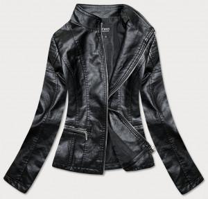Černá bunda z eko kůže se stojáčkem (B13) Černá S (36)