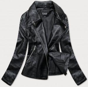 Černá bunda ramoneska z imitace kůže (B17) Černá S (36)