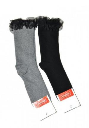 Milena tylový volánek 1030 Ponožky 37-41 grafitová (tmavě šedá)