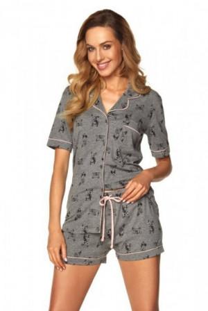 Rossli Leila knoflíky SAL-PY-1169 šedý melange Dámské pyžamo S šedý melanž