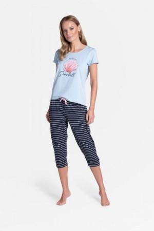 Henderson Ladies Tickle Long 38897-50X Dámské pyžamo L Blankytno-tmavomodrá