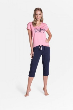 Henderson Ladies Tulip Long 38901-30X Dámské pyžamo L růžovo-tmavě modrá