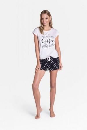 Henderson Ladies Truth 38907-03X Dámské pyžamo L ecru-černá