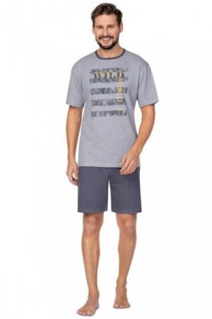 Regina 579 Pánské pyžamo plus size XXL tmavě šedá melanž