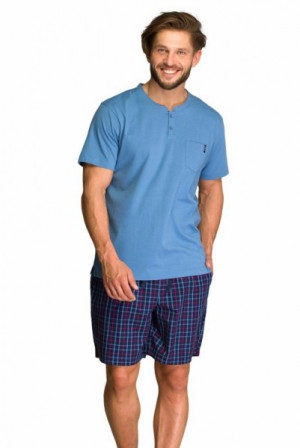 Key MNS 223 A21 Pánské pyžamo M modrá-tmavě modrá
