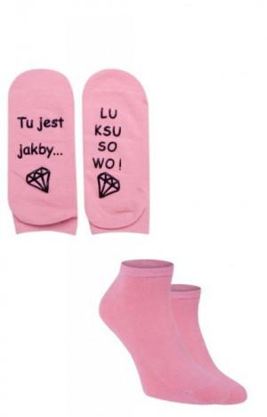 YO! SK-62 Z Napisem ABS 35-38 Dámské kotníkové ponožky 35-38 mix barva