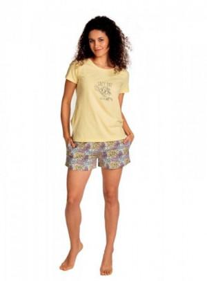 Lama L-1397 PY Dámské pyžamo M žlutá-květy