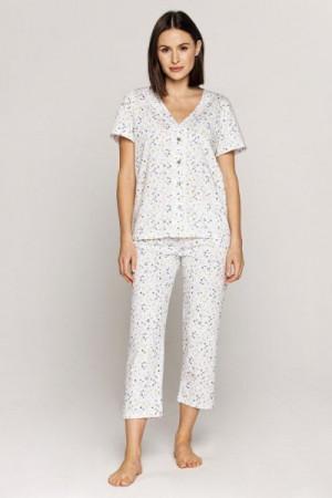 Cana 556 Dámské pyžamo 2XL XXL bílá-květiny