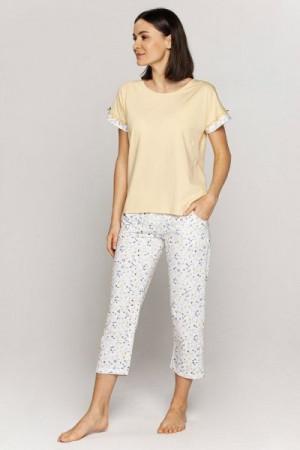 Cana 558 Dámské pyžamo 3XL 3XL žlutá-bílá