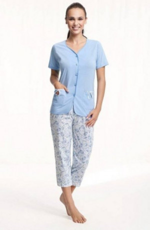 Luna 632 modré Dámské pyžamo L modrá