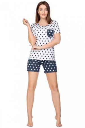 Regina 949 tmavě modré Plus Dámské pyžamo 2XL bílá
