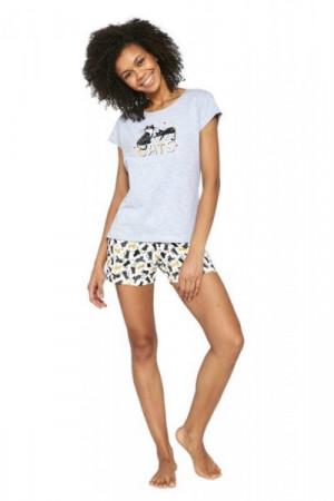 Cornette Cats 628/194 Melanž Dámské pyžamo M Melanžová