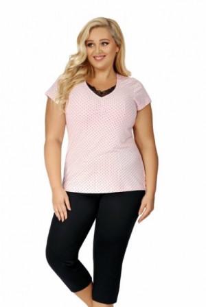 Donna Alice 3/4 Dámské pyžamo Size Plus 5XL růžovo-černá