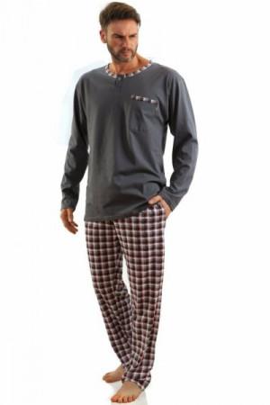 Sesto Senso Jasiek dlouhý rukáv grafitové Pánské pyžamo XXL grafit-bordo