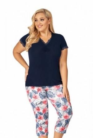 Donna Mila 3/4 Dámské pyžamo Size Plus 5XL tmavě modrá/vzor