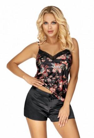 Donna Paris 1/2 černé Dámské pyžamo XL černá/vzor