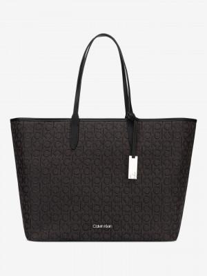 Jacquard Shopper Kabelka Calvin Klein Černá