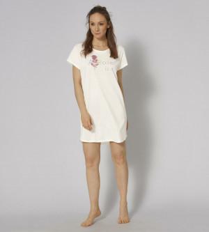 Dámská noční košile NDK 01 - SILK WHITE - TRIUMPH SILK WHITE - TRIUMPH SILK WHITE
