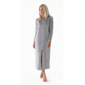 RIO dámské dlouhé šaty se zipem S dlouhý župan se zipem šedá 9151